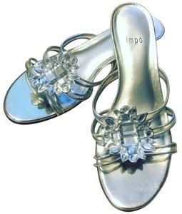 Impo Mettalic Jeweled Bling Silver Sandals
