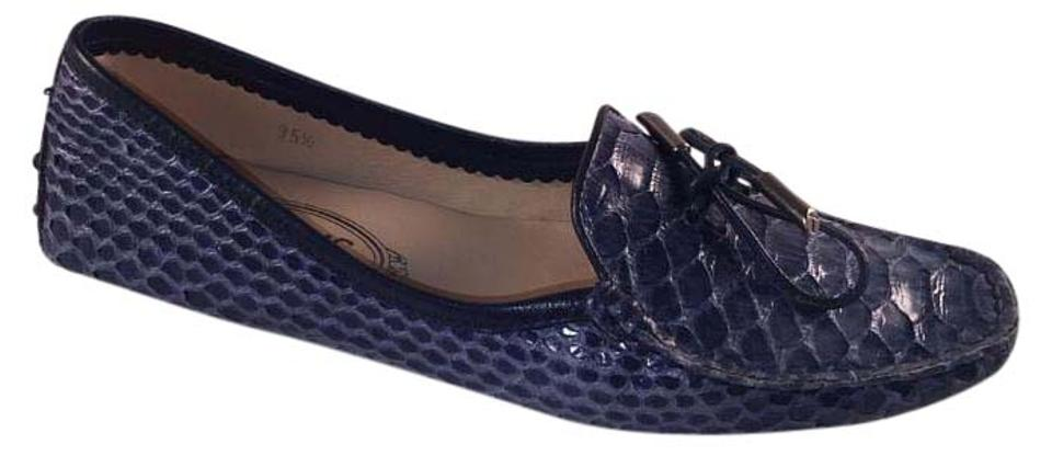 5586619bac2 Tod s Blue Women s Bilbao Laccetto Python Driving Moccasin Loafer 5.5 35.5  Flats