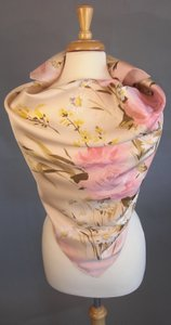 Valentino Pastel French Rose Floral Design On Pink New Spring Garden Couture Silk Twill Foulard Scarf Wrap Other
