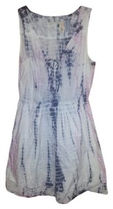 DKNY short dress tie dye, white, pink, navy blue Dye Cotton Summer on Tradesy