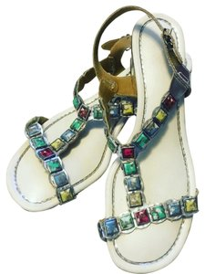Beacon Reflections Jeweled Flip Flop White Pink Blue Green Yellow Sandals