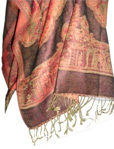reversible orange brown pashmina Pashmina wrap shawl reversible orange brown red w fringe