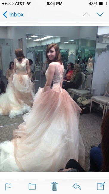Item - White Cream Pink Tulle Ombre Ball Gown with Up Skirt Vintage Wedding Dress Size 2 (XS)