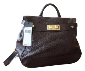 BCBGMAXAZRIA Leather Satchel in Dark Brown
