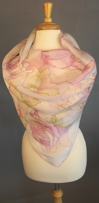 Item - Pastel French Rose On Ivory New Spring Floral Garden Couture Silk Chiffon Foulard Wrap Decoration