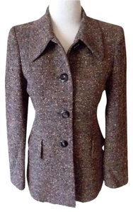 Escada Vintage Fitted Tweed Brown Blazer