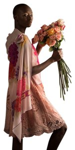 Leonard Paris Island Resort Luxe Wedding Couture Silk Wrap In Exotic Persian Rose Red Violet Plum and Burnt Orange On Pink Other