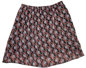 9a Flowers Skirt Black, Red, Purple, Gray