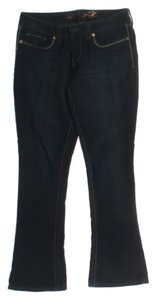 Seven7 Slim Dark White Stitches Boot Cut Jeans-Dark Rinse
