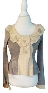 Anthropologie Ruffle Floral Sweater gray / cream Jacket