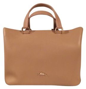 Longchamp Honore Leather Lightweight Satchel in Sandy