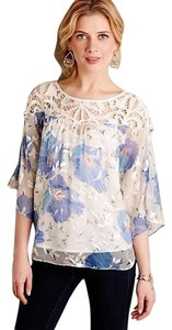 Anthropologie Florafall Peasant Festival Crochet Top Blue