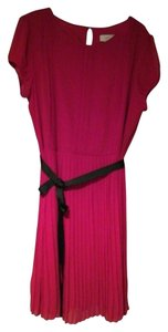 Ann Taylor LOFT Pleated Belted Polyester Dress