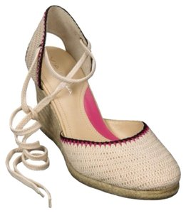 Via Spiga Cream and Pink Wedges