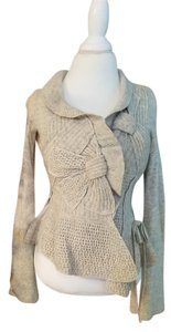 Anthropologie Ruffle Sweater Winter Wool heather gray Jacket