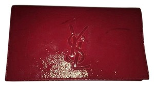 Saint Laurent Ysl 361120 Belle Leather Red Clutch