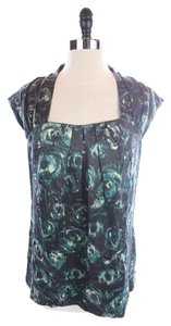 Ann Taylor Pretty Watercolor Floral Cap Sleeve Silk Top Blue
