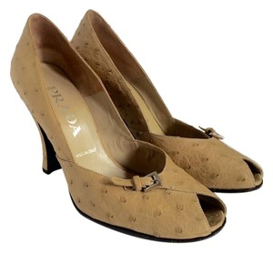 Prada Ostrich Vintage Buckle Tan Pumps