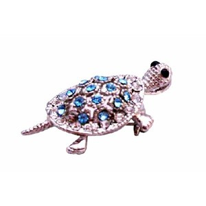 Silver/Blue Aquamarine Crystals Turtle Casting Inexpensive Pendant Brooch/Pin