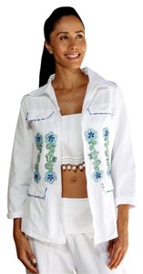 Lirome Boho Cottage Chic Ethnic Country Summer White Blue Jacket