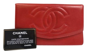 Chanel Chanel Rare Red Calfskin Leather Gold Hardware CC Logo Long Clutch Wallet in Box