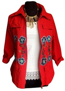 Lirome Boho Cottage Chic Ethnic Country Summer Red Blue Jacket