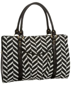 Lauren Merkin Chevron Satchel in Black and White