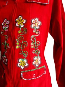 Lirome Boho Cottage Chic Ethnic Red Multi Jacket