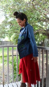 Lirome Boho Cottage Chic Ethnic Denim Blue Jacket