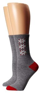 Lauren Ralph Lauren Lauren Ralph Lauren Triple Snowflake Angora Blend Socks Grey Red White Brand New