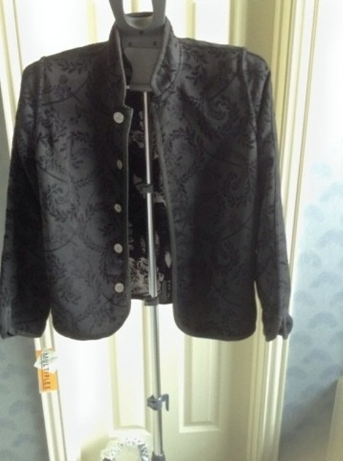 Multiples Black With White Floral Blazer