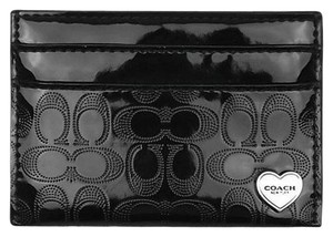 Coach COACH F62405 PERFORATED EMBOSSED LIQUID GLOSS CARD CASE BLACK