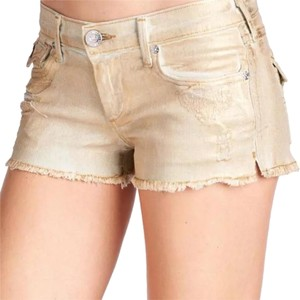 True Religion Cut Off Shorts Gold