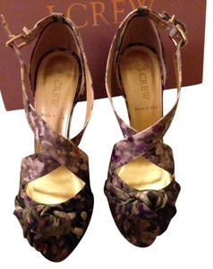 J.Crew Hidden Platform Pink grey, green, floral Pumps