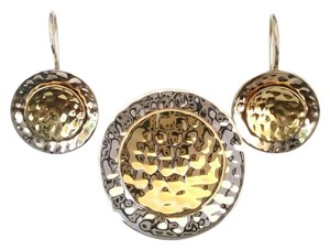Silpada Silpada Hammered Sterling Silver & 14K Gold Plated Pendant/Earrings Set