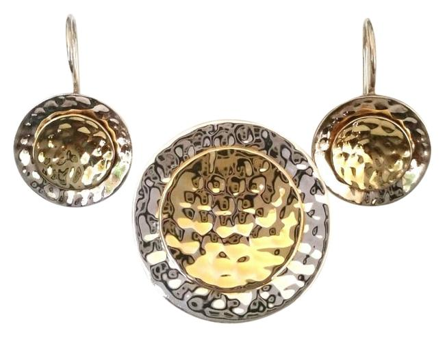 Item - Silver/Gold Hammered Sterling 14k Plated Pendant/Earrings Set