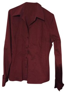 New York & Company Button Down Shirt Maroon