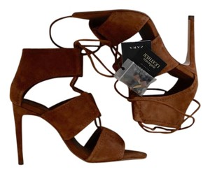 Zara Lace-up Pointed Toe Stiletto Suede brown Sandals