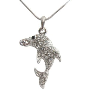 Dolphin Pendant Necklace Sparkling Body With Black Adorable Jewelry