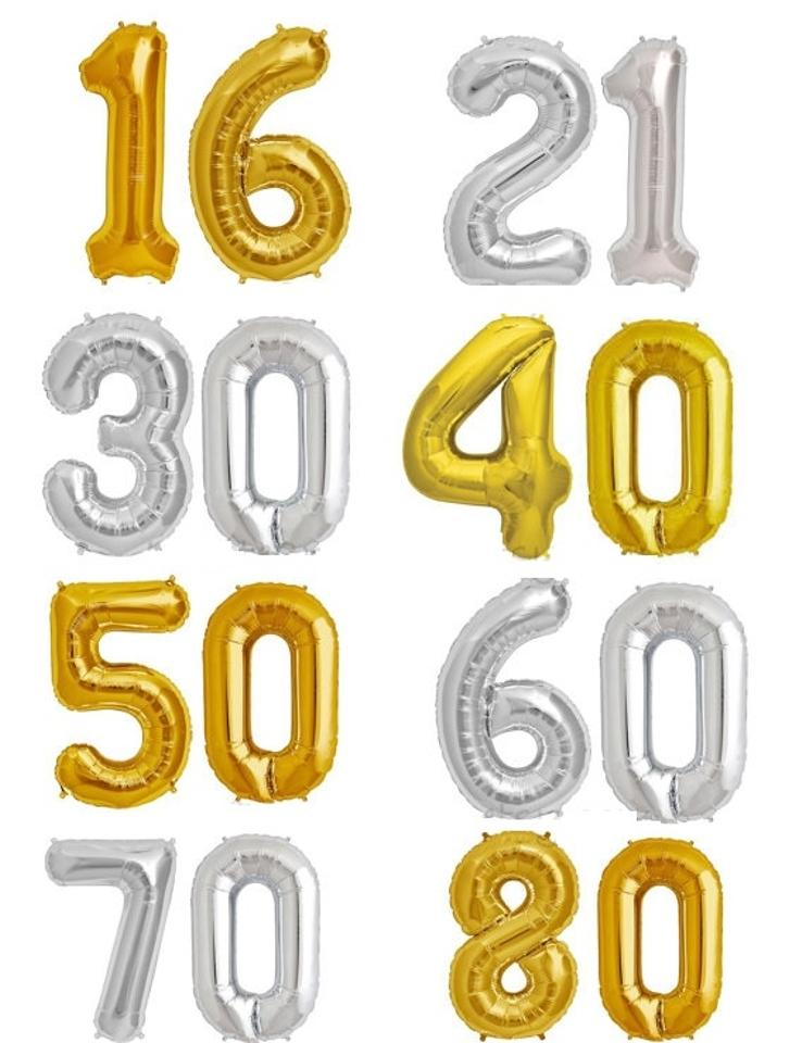 Gold 40 Number 50 Mylar Number Letter Balloons Birthday Balloon