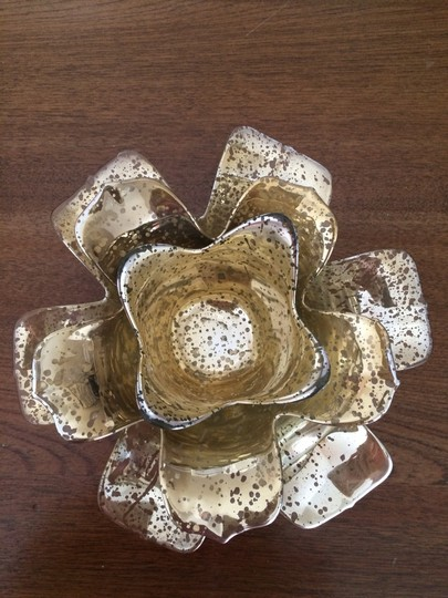 Mercury Glass- Flower Candle Holders (gold)