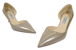 Prada D'orsay Kitty Heel Grey Patent Pumps