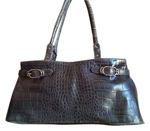 Cole Haan Leather Croc Work Professional Classic Shoulder Bag