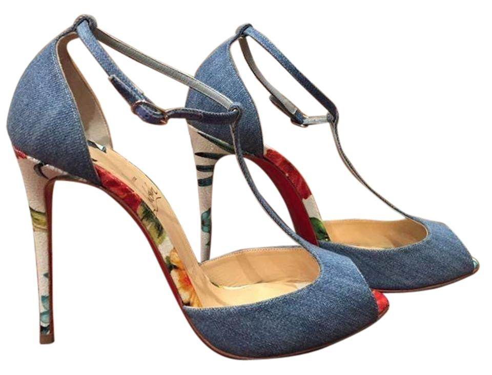 e8336790b5e Christian Louboutin Blue Senora 100 Denim Hawaii T Strap Heel 40 Pumps