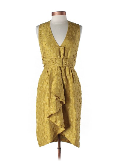 BHLDN Yellow Silk Tethered Dots Vintage Bridesmaid/Mob Dress Size 2 (XS)