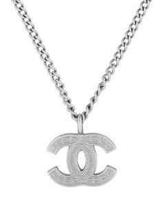Chanel Chanel Necklace Pendant CC Logo Quilted Silver Tone Metal Mini Medium Baroque Authentic Classic Timeless