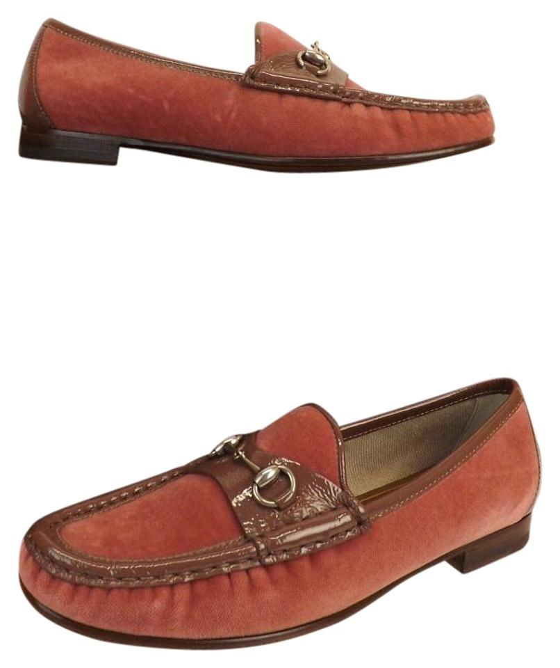 acc6033e450 Gucci Pink Horsebit Frame Pale Velour Patent Leather Silver Loafers 6.5  Flats