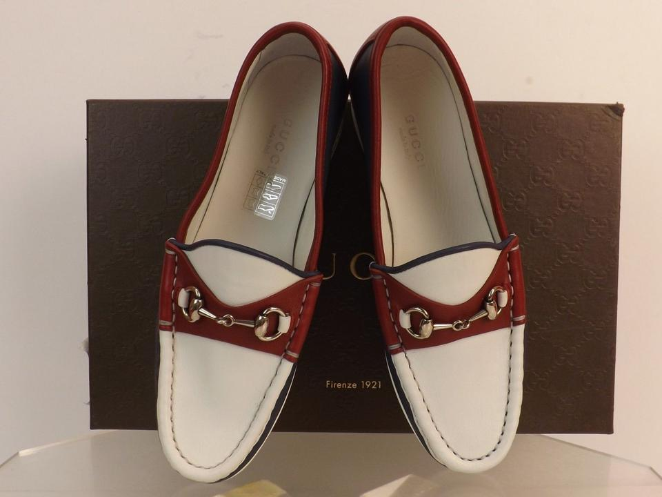 88d0925497a Gucci Multicolor Horsebit Rafer White Burgundy Navy Leather Silver Loafers  4  338358 Flats Size EU 34 (Approx. US 4) Regular (M