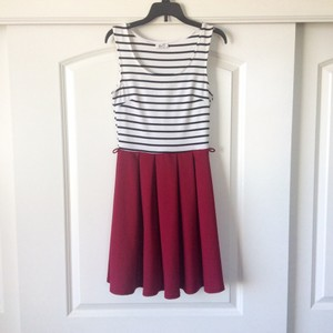 Other short dress Burgundy, white and black on Tradesy