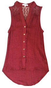 Active Basic Button Down Shirt Burgandy